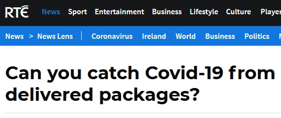 RTE article: Can you catch Covid-19 from packages?