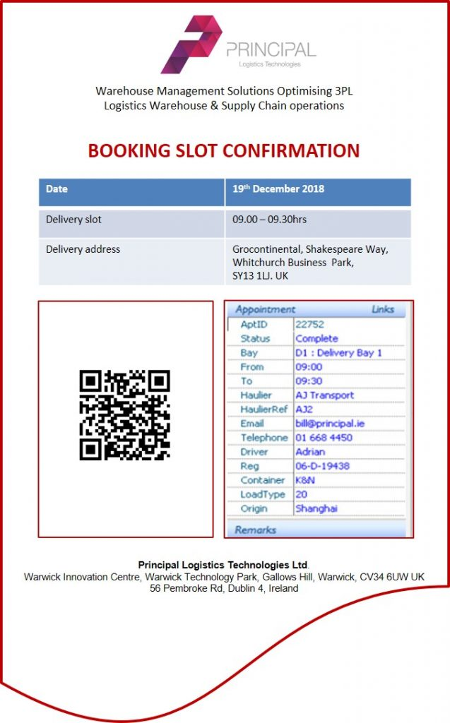 In-DEX WMS Yard Management Booking Slot Confirmation Sheet