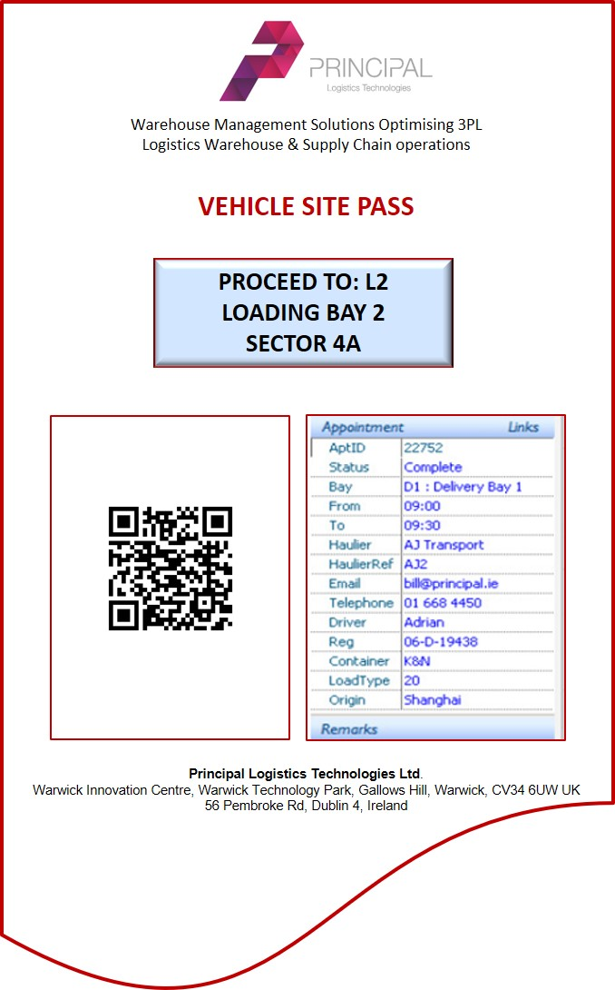 In-DEX WMS Yard Management Vehicle Site Pass